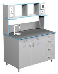 Стол пристенный для работы стоя со сливной раковиной СЛП НВК 1200 НЕРЖ+ (1218x700x1650)