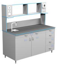 Стол пристенный для работы стоя со сливной раковиной СЛП НВК 1500 НЕРЖ+ (1500x700x1650)